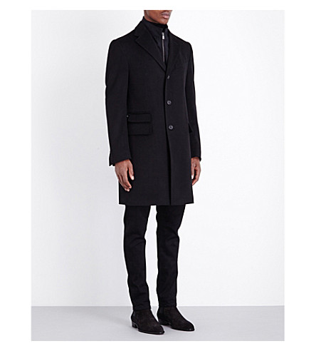 CORNELIANI Zip-insert single-breasted wool coat (Black