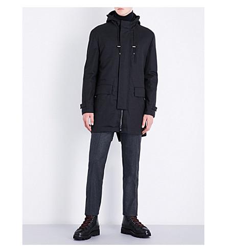 CORNELIANI Technical hooded wool-blend coat (Charocal