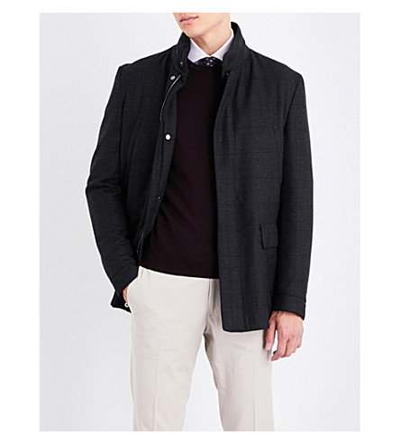 CORNELIANI Checked wool coat (Charcoal