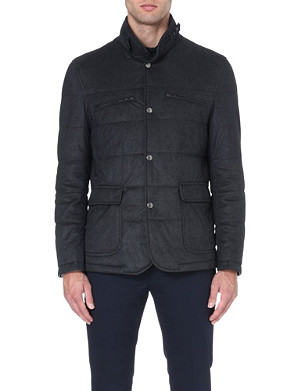 CORNELIANI Herringbone quilted coat