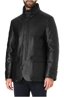CORNELIANI Drawstring leather jacket