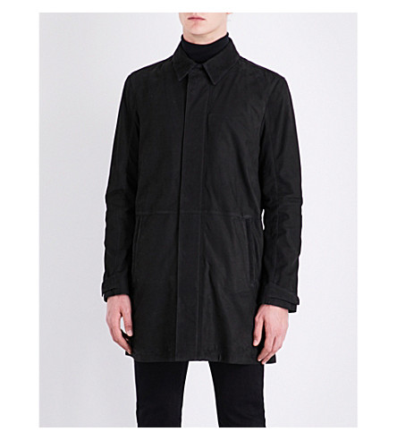 CORNELIANI Point-collar suede trench coat (Black