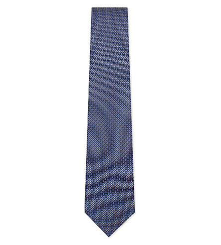 CORNELIANI Dot-stitch silk tie (Blue