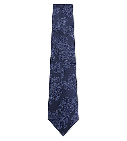 CORNELIANI Square block silk tie (Blue+1