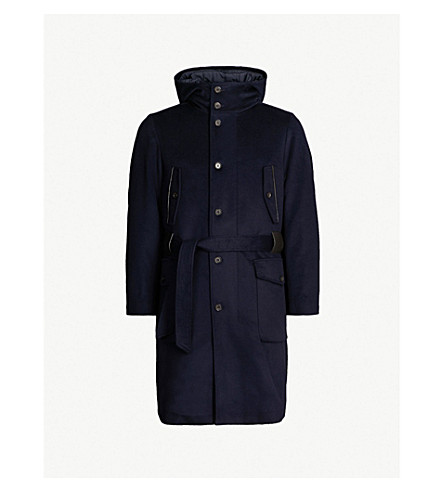 CORNELIANI CC Collection waist-tie wool overcoat (Navy