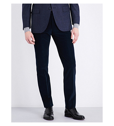 CORNELIANI Slim-fit mid-rise corduroy trousers (Blue