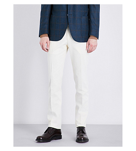 CORNELIANI Slim-fit tapered cotton pants (Off+white
