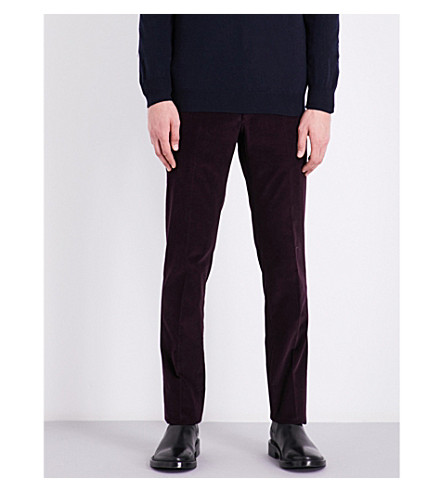 CORNELIANI Academy-fit mid-rise stretch-cotton corduroy trousers (Aubergine