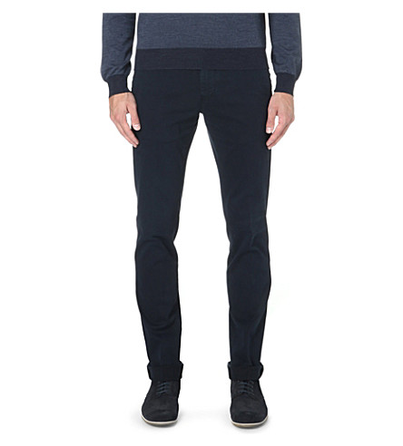 CORNELIANI Slim-fit tapered stretch-cotton chinos (Navy