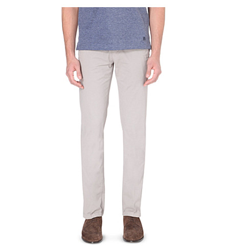 CORNELIANI Slim-fit tapered stretch-cotton chinos (Taupe