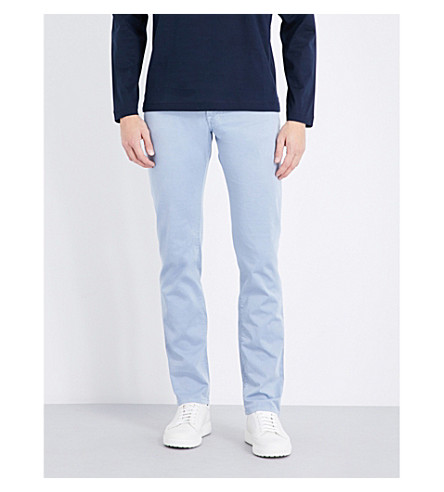 CORNELIANI Slim-fit tapered stretch-denim jeans (Navy