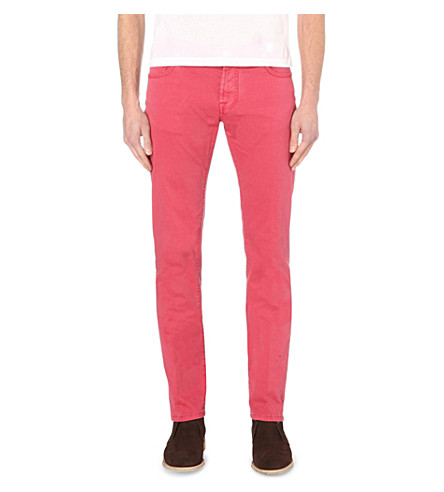 CORNELIANI Slim-fit tapered stretch-denim jeans (Red