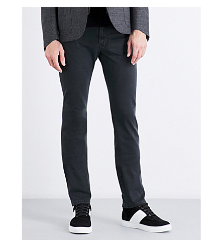 CORNELIANI Slim-fit tapered stretch-cotton pants (Black