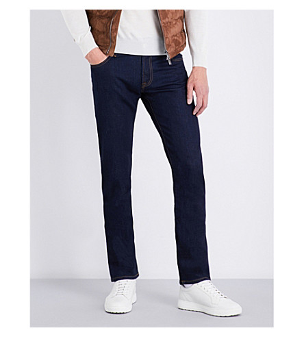 CORNELIANI Regular-fit straight-leg jeans (Dk+indigo