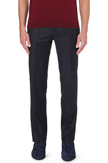 CORNELIANI Checked slim-fit straight leg wool trousers