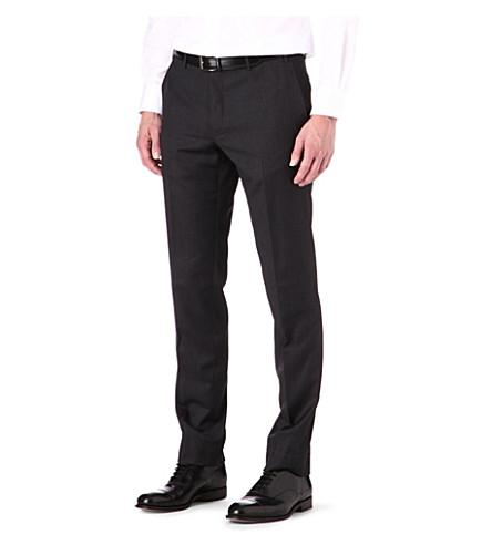 CORNELIANI Regular fit tapered wool trousers (Charcoal