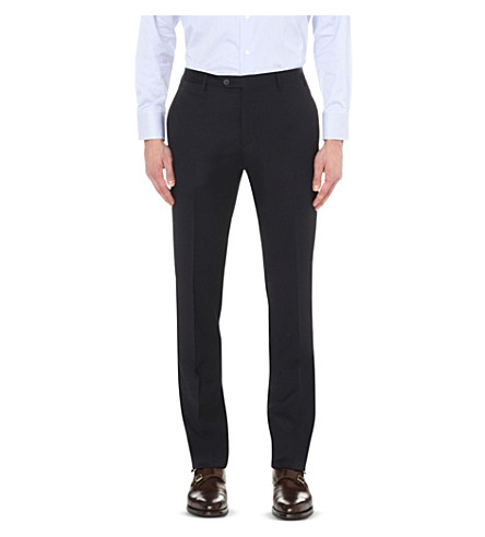 CORNELIANI Regular fit tapered wool trousers (Navy