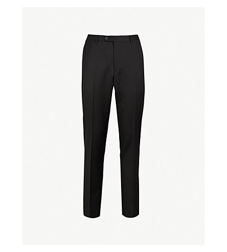 CORNELIANI Regular-fit tapered wool trousers (Black