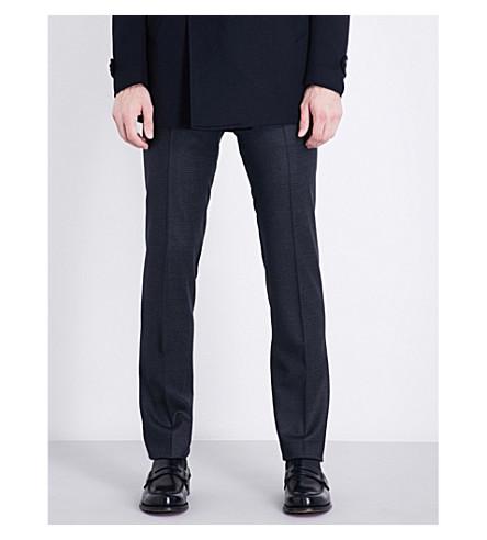 CORNELIANI Micro-check academy-fit stretch-wool trousers (Blue
