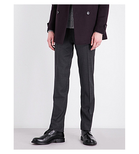 CORNELIANI Nailhead-patterned academy-fit stretch-wool trousers (Grey
