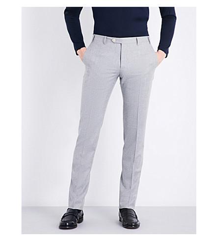CORNELIANI Slim-fit mid-rise wool pants (Lt+grey