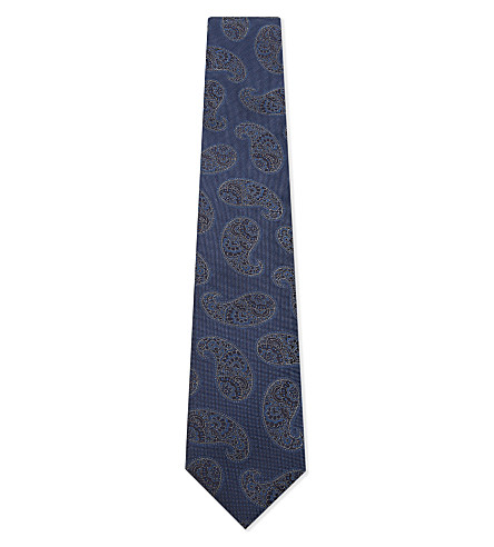 CORNELIANI Big paisley silk tie (Blue