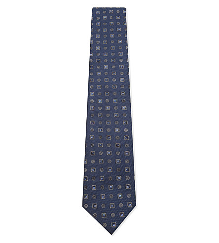 CORNELIANI Mini tile silk tie (Blue+1