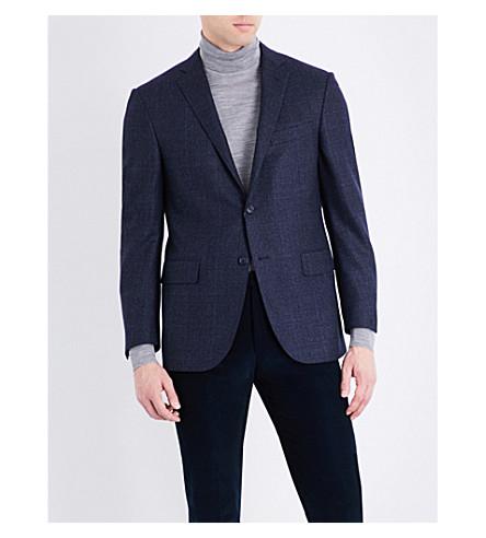 CORNELIANI Prince of Wales check tailored-fit wool jacket (Navy