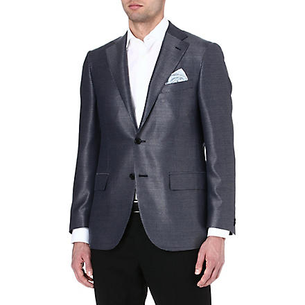 CORNELIANI Single-breasted wool and silk blazer (Navy