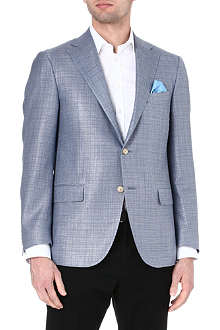 CORNELIANI Checked wool and silk-blend blazer