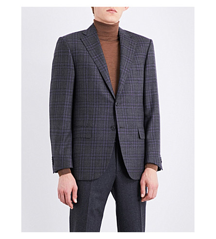 CORNELIANI Checked leader-fit wool jacket (Grey
