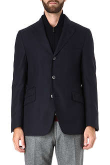 CORNELIANI Zip insert basketweave blazer