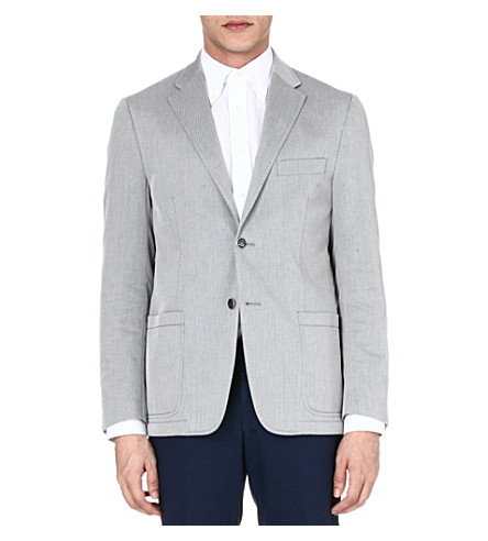 CORNELIANI Striped single-breasted blazer (Grey