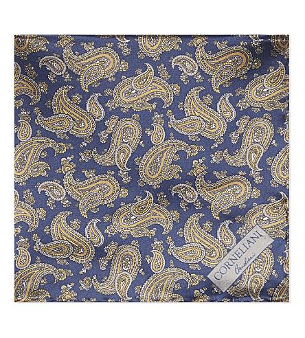 CORNELIANI Paisley silk pocket square (Navy/gold