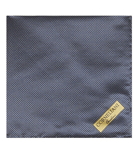 CORNELIANI Micro-dot silk pocket square (Navy/gold+3