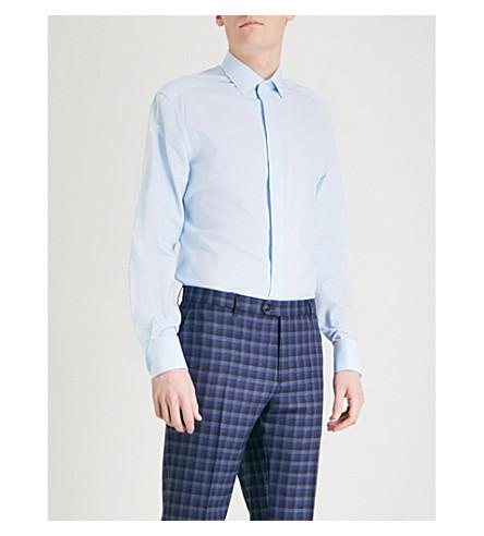 CORNELIANI Regular-fit cotton and silk-blend shirt (Blue