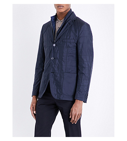 CORNELIANI Quilted removable-insert shell jacket (Navy