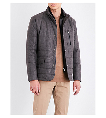 CORNELIANI Tonal-pattern technical quilted jacket (Brown