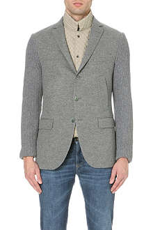 CORNELIANI Ribbed wool and cashmere-blend cardigan