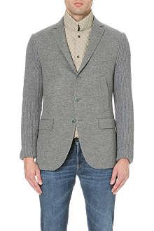 CORNELIANI Ribbed wool and cashmere-blend cardigan