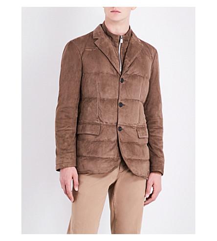 CORNELIANI Quilted suede vest jacket (Tan