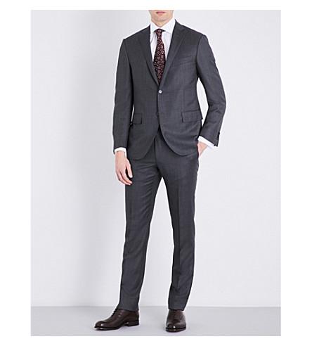 CORNELIANI Birds eye-print slim-fit wool suit (Charcoal