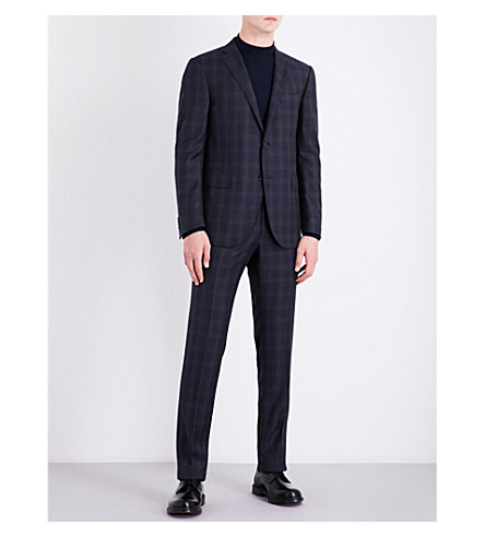 CORNELIANI Windowpane check regular-fit wool suit (Navy