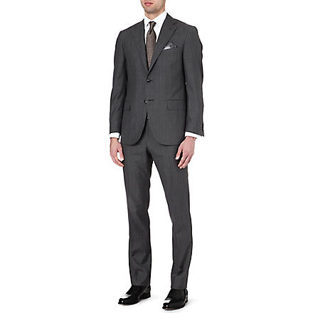 CORNELIANI Pinstripe single-breasted wool and silk-blend suit (Grey