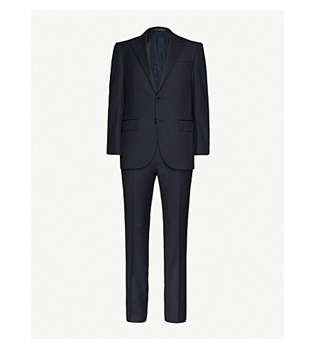 CORNELIANI Single-breasted tapered wool suit (Navy