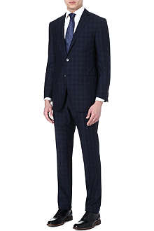 CORNELIANI Graph check wool-silk suit