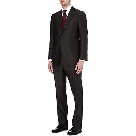 CORNELIANI Wool and silk-blend suit (Brown