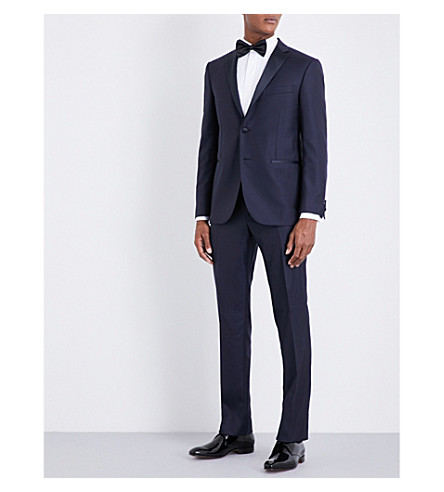 CORNELIANI Micro-patterned regular-fit wool tuxedo (Blue