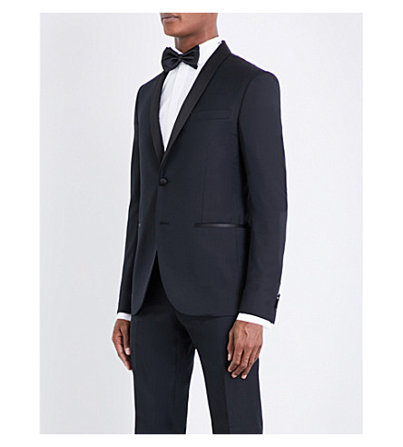 CORNELIANI Diamond-patterned regular-fit wool tuxedo (Black
