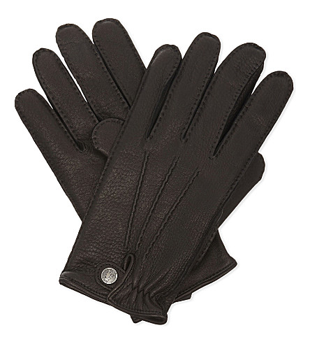 CORNELIANI Leather gloves (Black